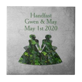 Ivy Green Ladies Lesbian Handfasting Keepsake Tile