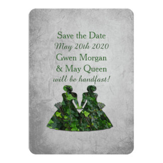 Ivy Green Ladies Lesbian Handfasting Save the Date Card