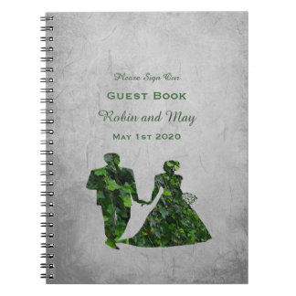Ivy Green Man & Green Lady Handfasting Guest Book Spiral Note Book