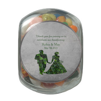 Ivy Green Man & Green Lady Jelly Belly Jar Favor Jelly Belly Candy Jar