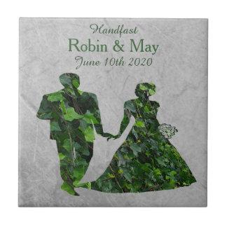 Ivy Green Man & Lady Handfasting Keepsake Tile