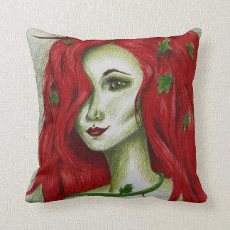 Ivy Nymph Redhead Fantasy Original Art Pillow