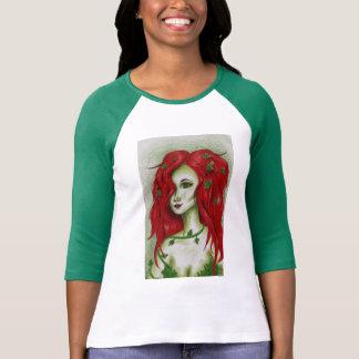 Ivy Nymph Redhead Fantasy Original Art Raglan Tee Shirt