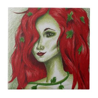 Ivy Nymph Redhead Fantasy Original Art Tile