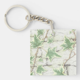 Ivy on a Dry Stone Wall in Pencil Acrylic Key Ring Keychain