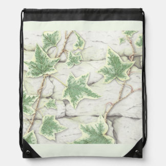 Ivy on a Dry Stone Wall in Pencil Drawstring Bag