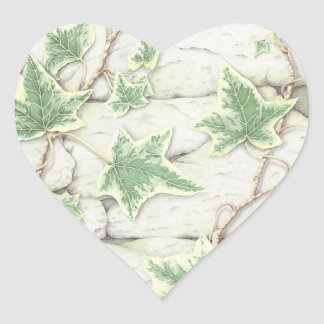 Ivy on a Dry Stone Wall in Pencil Heart Stickers