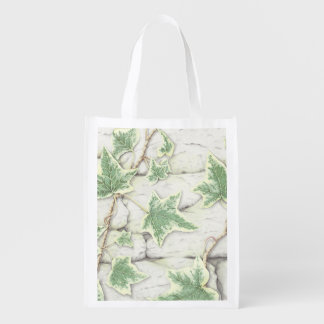 Ivy on a Dry Stone Wall in Pencil Reusable Bag Market Totes