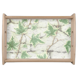 Ivy on a Dry Stone Wall in Pencil Serving Tray