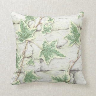 Ivy on a Dry Stone Wall, Pencil Polyester Cushion