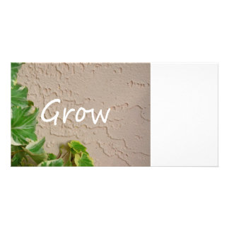 ivy on left word grow garden design neat nature personalized photo card
