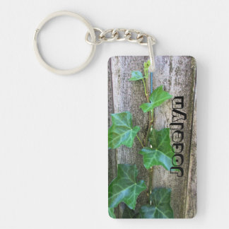 Ivy On Wood Personalized Keychain