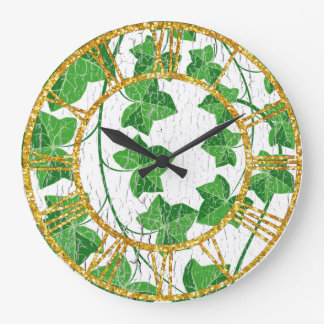 Ivy Over Weathered White Large Clock