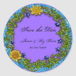 ivy save the date classic round sticker