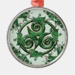 Ivy Triskel Round Metal Christmas Ornament