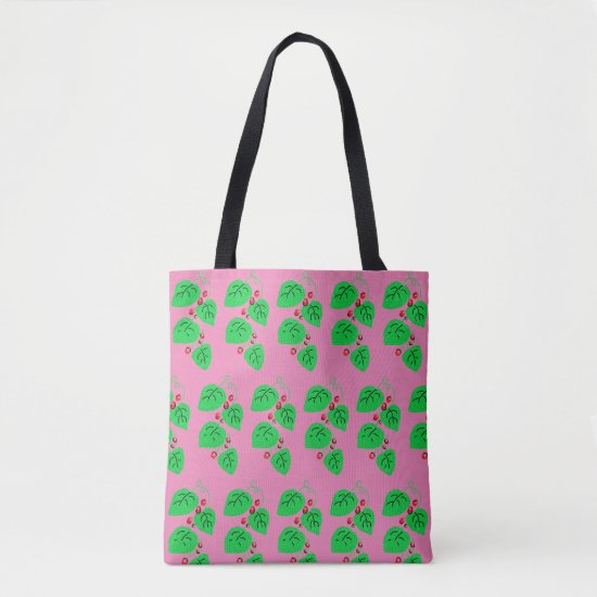 Ivy with Red Berries Pattern on Pink Tote Bag
