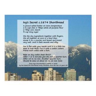 Ivy's Shortbread Recipe Postcard