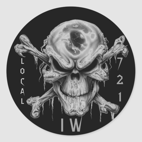 IW SKULL & CrossBones, LOCAL, 721 Classic Round Sticker
