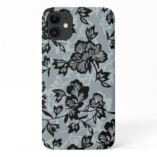 Iwalani Vintage Hawaiian Charcoal Gray Floral iPhone 11 Case