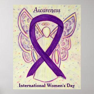 IWD Awareness Ribbon Purple Angel Poster Art Print