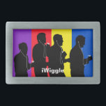 "iWiggle Belt Buckle<br><div class=""desc"">Belt buckle with silhouette of The Wiggles holding iPods.</div>"