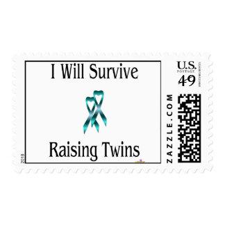 IWillSurviveRaisingTwinsBoyBoy Postage Stamps