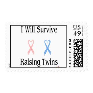 IWillSurviveRaisingTwinsGirlBoy2 Postage Stamps