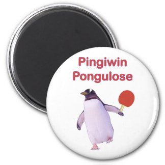 iWin uLose Penguin Ping Pong 2 Inch Round Magnet