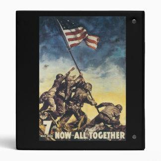 Iwo Jima flag raising color war graphic vintage 3 Ring Binder