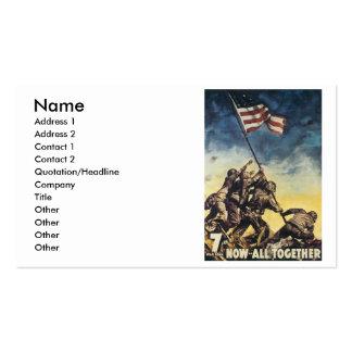 Iwo Jima flag raising color war graphic vintage Business Card