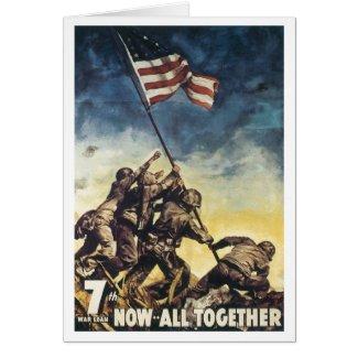 Iwo Jima flag raising color war graphic vintage Greeting Card