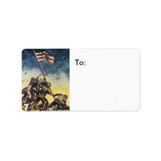 Iwo Jima flag raising color war graphic vintage Label