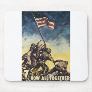 Iwo Jima flag raising color war graphic vintage Mouse Pad