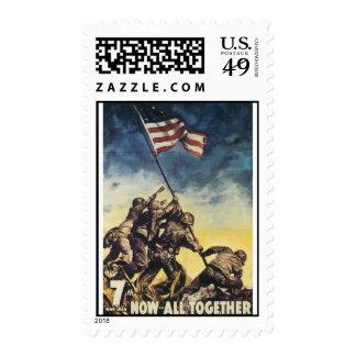 Iwo Jima flag raising color war graphic vintage Postage Stamps