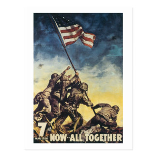 Iwo Jima flag raising color war graphic vintage Postcard
