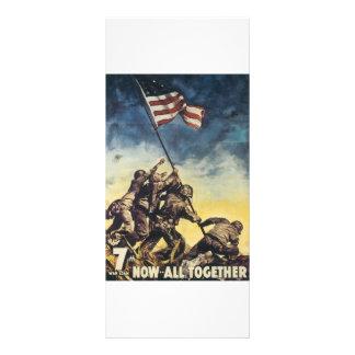 Iwo Jima flag raising color war graphic vintage Rack Card