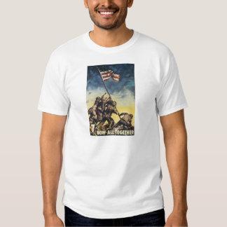 Iwo Jima flag raising color war graphic vintage Shirt
