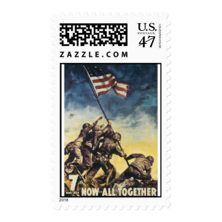 Iwo Jima flag raising color war graphic vintage Stamp