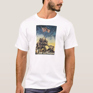 Iwo Jima flag raising color war graphic vintage T-Shirt