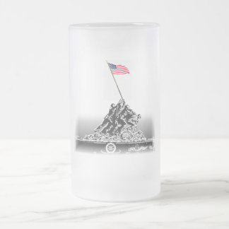 IWO JIMA FROSTED GLASS BEER MUG