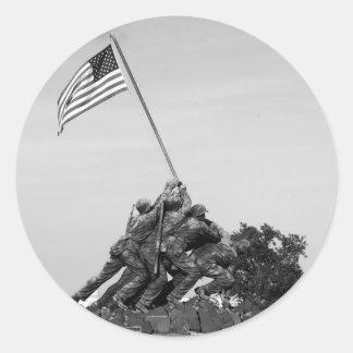 Iwo Jima Memorial Round Stickers
