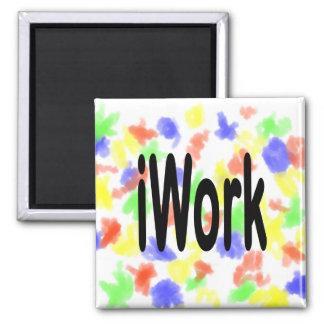 iwork design black text 2 inch square magnet