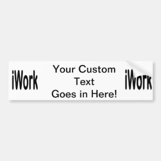 iwork design black text car bumper sticker