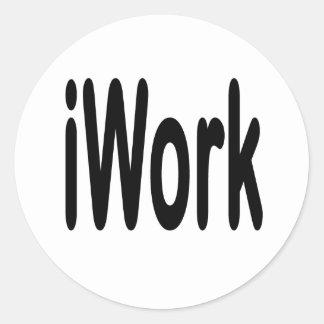 iwork design black text classic round sticker