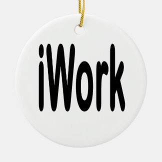 iwork design black text Double-Sided ceramic round christmas ornament