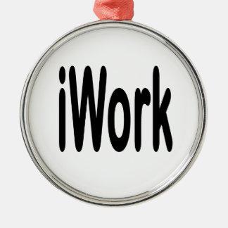 iwork design black text round metal christmas ornament
