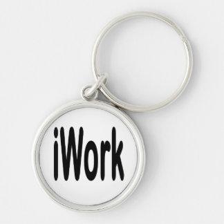 iwork design black text Silver-Colored round keychain
