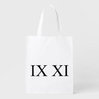 IX XI (Roman numerals 9 11) Grocery Bag