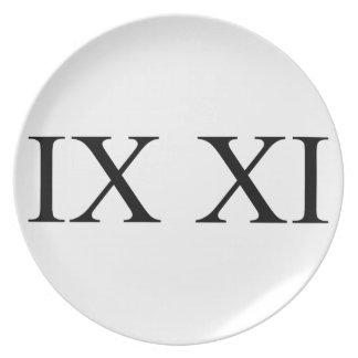 IX XI (Roman numerals 9 11) Party Plates