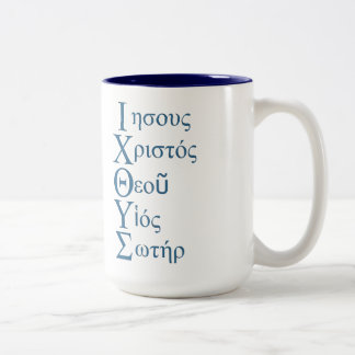 IXOYE Acrostic (Blue) Two-Tone Coffee Mug